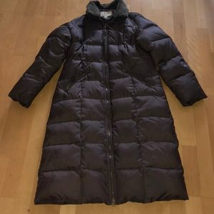 UGG brown down coat with Shearling Collar sz L